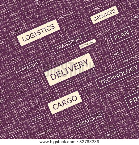 DELIVERY. Concept illustration. Graphic tag collection. Wordcloud collage. Vector illustration.