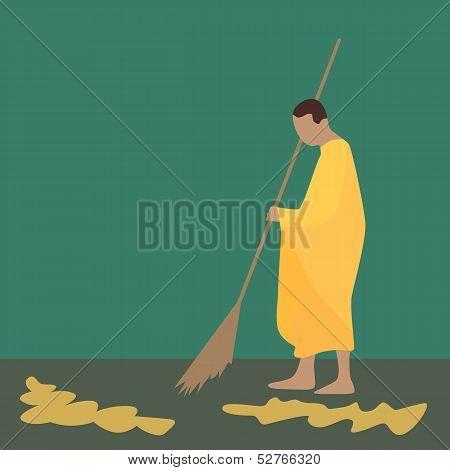 Thai Monk Sweeping Leaf