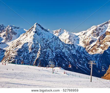 Slopes of ski resort in French Alps
