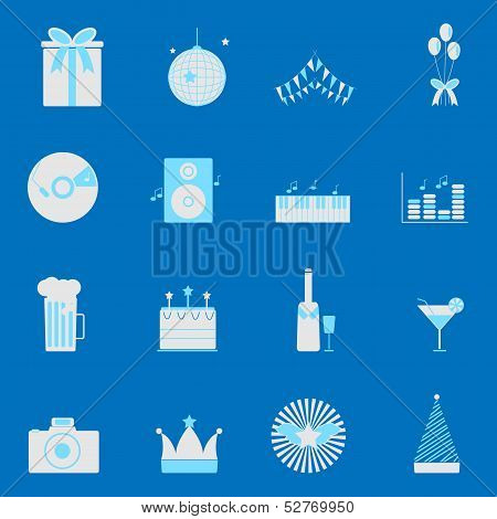 Party And Celebration Color Icons Set