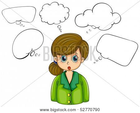 Illustration of a girl with many empty callouts on a white background