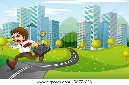 Illustration of a nervous man running with a suitcase