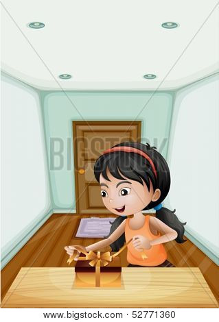 Illustration of a girl unwrapping the gift inside the room