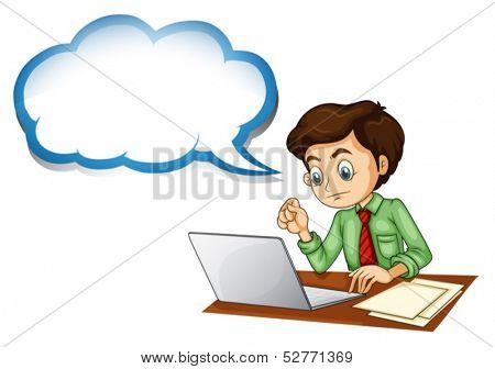 Illustration of a businessman using the laptop with an empty callout on a white background