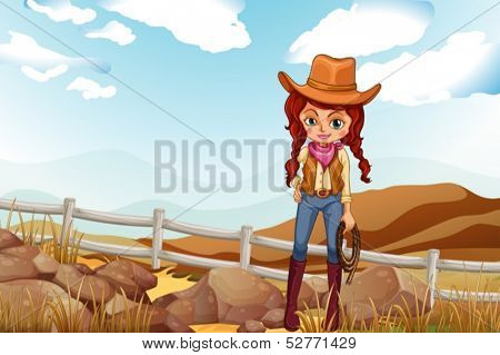 Illustration of a pretty cowgirl near the rocks