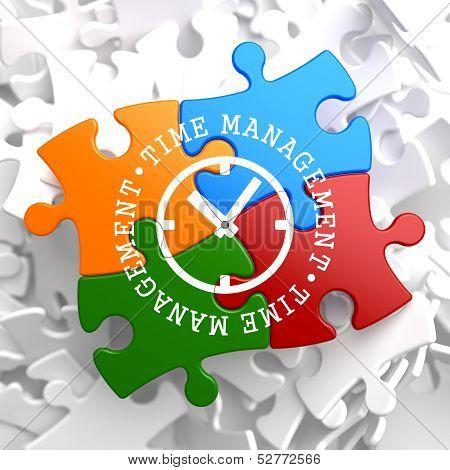 Time Management Concept on Multicolor Puzzle.