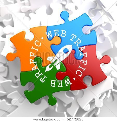 Web Traffic Concept on Multicolor Puzzle.