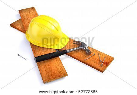 Hard Hat and Tools