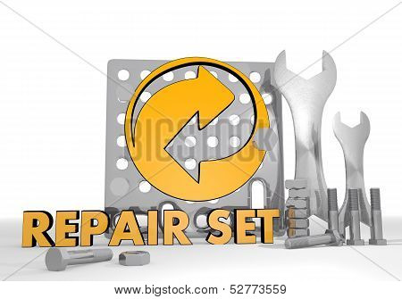 Illustration Of A Renewable Recycling Symbol Repair Set