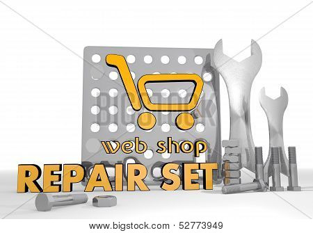 3D Graphic Of A Isolated Web Shop Sign Repair Set
