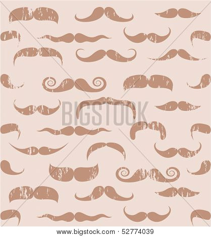 Seamless retro style mustache pattern. Vector background.