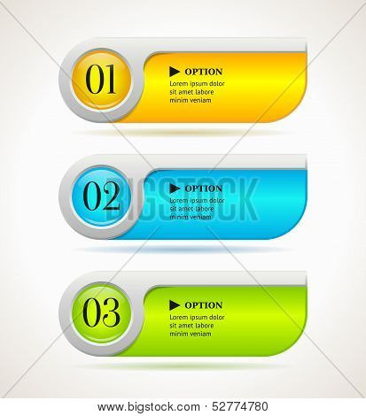 Shine Horizontal Colorful Options Banners/buttons Template. Vector Illustration