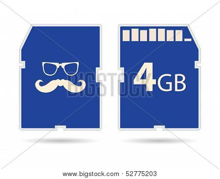Vector Memory Sd Card With Hipster Design