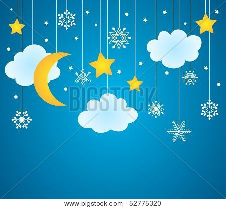 Vector Blue Background With Hanging Clouds, Moon, Stars And Snowflakes/ Christmas Card