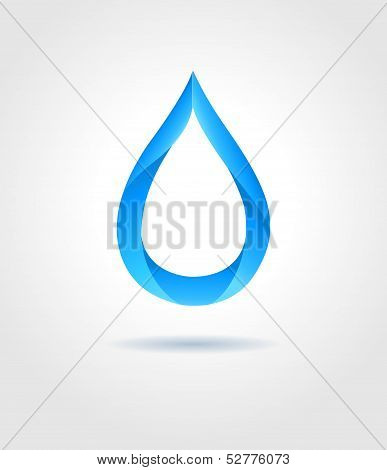Abstract Blue Water Drop On Gray Background. Vector Creative Concept