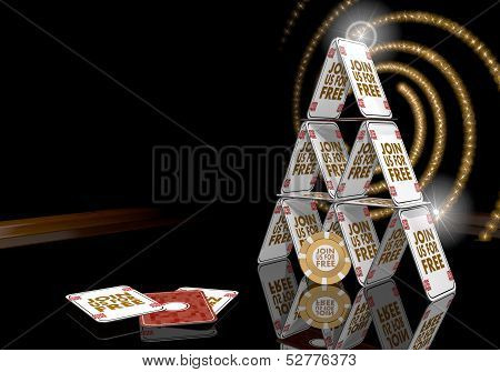3D Render Of A Bold Join Us Sign  On The Casino Table