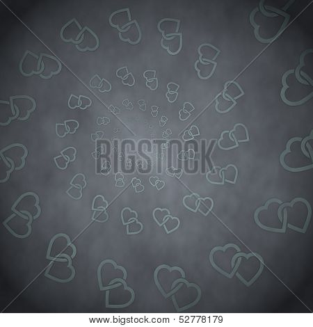 3D Graphic Of A Stylish Two Hearts Label  On Vintage Background
