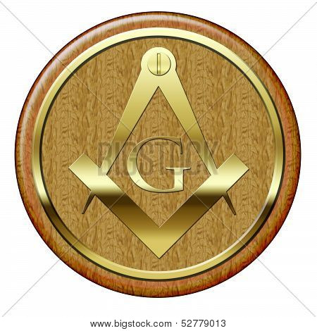 Freemason Golden Metallic Symbol On Wooden Plaque