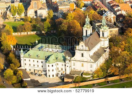 KRAKOW, POLAND - OCT 20: View of the Church of St. Stanislaus Bishop, Oct 20, 2013 in Krakow, Poland. In 1733-1751 the church received a baroque decor. It is one of the most famous Polish sanctuaries.