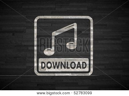 Music Download Label  On Noble Stone Texture