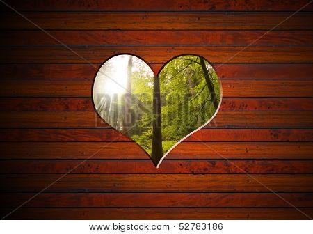 Heart Shape Cut On Brown Wooden Wall