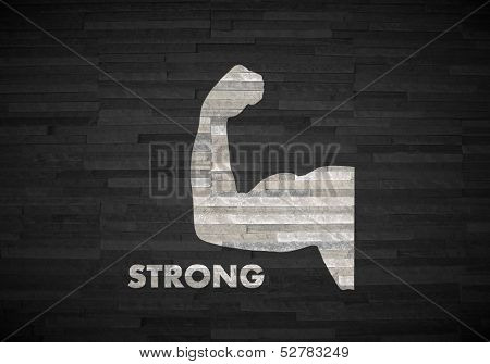 3D Graphic Of A Powerful Strong Symbol  On Noble Stone Texture