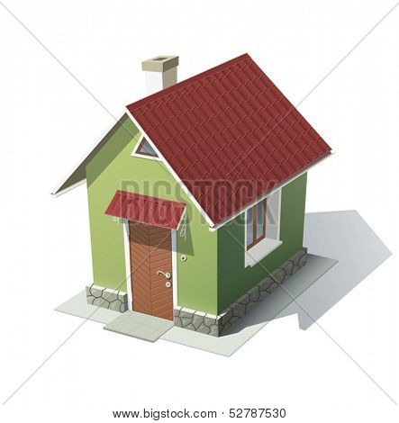 green house with red roof vector illustration isolated on white background EPS10. Transparent objects and opacity masks used for shadows and lights drawing
