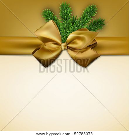 Christmas gift card with golden ribbon and satin bow. Vector illustration.