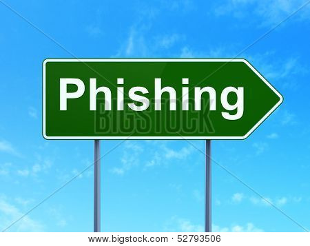 Privacy concept: Phishing on road sign background