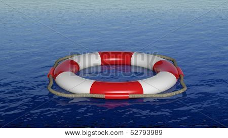 3D render of red life belt floating on blue sea