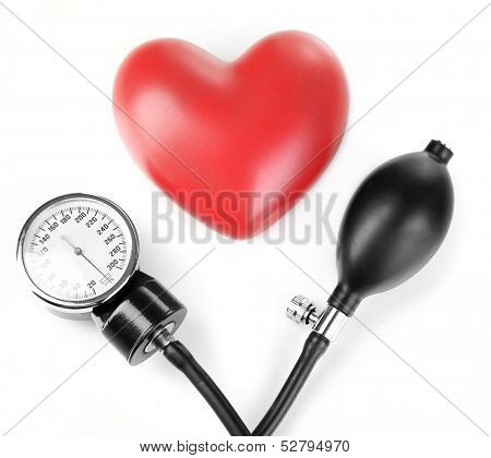 Tonometer and heart isolated on white