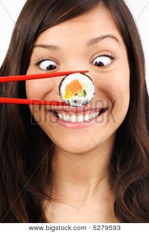 Funny Sushi Woman