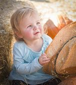stock photo of baby cowboy  - Adorable Baby Girl with Cowboy Hat in a Country Rustic Setting at the Pumpkin Patch - JPG
