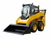 stock photo of bulldozer  - Small bulldozer isolated on a white background - JPG