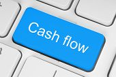 picture of keypad  - Blue cash flow button on white keyboard - JPG