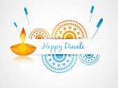 foto of diwali lamp  - vector diwali greeting design art - JPG