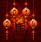 stock photo of hieroglyphs  - Chinese New Year lantern with hieroglyph horse eps 10 - JPG