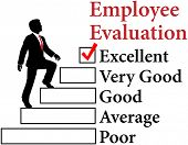 foto of average man  - Business man climbs up Employee Evaluation form to improvement - JPG
