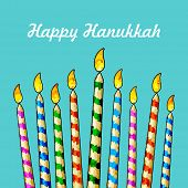 picture of menorah  - illustration of burning candle in Hanukkah Menorah with star of david - JPG