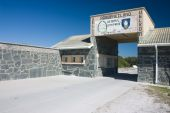 stock photo of nelson mandela  - Entrance to Robben Island Prison where Nelson Mandela was held captive - JPG