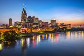stock photo of broadway  - Skyline of downtown Nashville - JPG