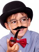 picture of sherlock  - hat boy and mustache like sherlock holmes - JPG