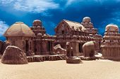 stock photo of hindu  - Panch Rathas Monolithic Hindu Temple in Mahabalipuram - JPG