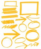picture of marker pen  - set of orange vector abstract hand - JPG