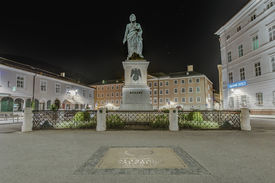 stock photo of mozart  - Mozart statue on Mozart Square  - JPG