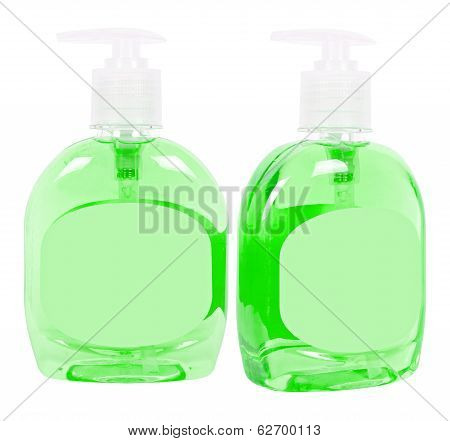 Green Bottles With Liquid Soap