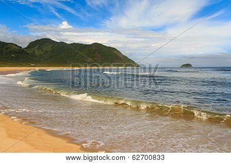 Peaceful Empty Beach Grumari, Rio De Janeiro