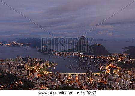 View Of Sugarloaf Blue Hour Rio De Janeiro, Brazil