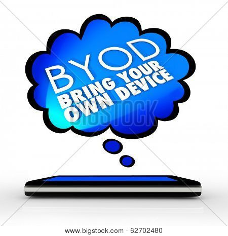 BYOD Acronym Bring Your Own Device Smart Phone Thought Cloud Words