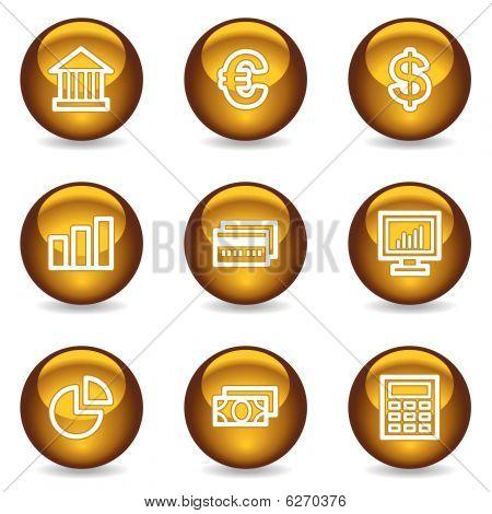Finance web icons set 1, gold glossy series